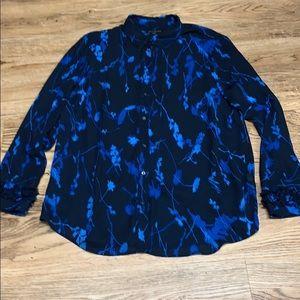 Banana Republic Blue & Black Blouse Size XL